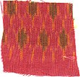 Smooth, soft, 1-ply, homespun, hand woven, red, yellow, orange, green, pink, gold ikat mudmee pattern #0230 pure Thai Silk